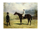 A Gentleman by His Racehorse with Jockey Up on a Racecourse  1863