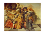 Elegant Figures Making Music on a Terrace by a Lake
