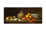 Bread  Oysters  a Chianti Flask  a Lobster  Lemons  Oranges and Glasses in a Porcelain Bowl on a…