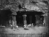 India: Picnic at the Entrance of the Elephanta Caves Near Bombay  1870s