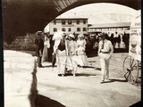 Three Women and a Man Walking at the Narragansett Pier with Itinerant Photographer's Cart  Rhode…
