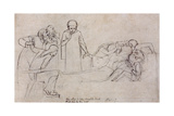 Studies for the Figures of the Doctor  Mourners and Minerva  1846