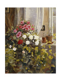 Azaleas  Geraniums  Roses and Other Potted Plants by a Window  1888
