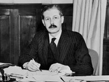Harold Macmillan  in His Office in the Colonial Ministry in London  1942