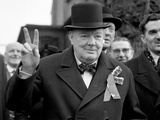 Sir Winston Churchill Giving His 'Victory' Sign During a Polling Day Tour of His Constituency in…
