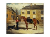 An Officer of the Dragoon Guards  Caribineers with His Mount in the Barrack's Stable Yard  1839