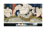 Illustration of the Dohyo-Iri of Grand Champion Shiranui Dakuemon  Published by Yamaguchiya Tobie