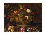 Grapes  Apples  a Peach and Plums in a Basket with Lily of the Valley