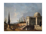 Elegant Figures in Front of a Domed Classical Church  an Obelisk to the Left