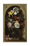 Irises  Roses  Lily of the Valley and Other Flowers in a Glass Vase in a Niche  1621