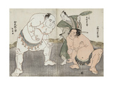 Onagawa Kisaburo and Tanikaze Kajinosuke Performing the Shiriki in the Dohyo  Refereed by Kimura…