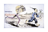 Anti-Chinese Trade Card Using the Theme of the New American Steam Washer Chasing Out the…