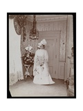 Portrait of Mrs Taylor of 'Rider and Driver' Standing Posed in Her Wedding Dress  New York  1896-8
