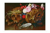 Vanitas Still Life with Skulls  Flowers  a Pearl Mussel Shell  a Bubble and Straw