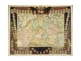 Map of the German Empire with Portraits of the Holy Roman Emperors  Published by Louis-Charles…