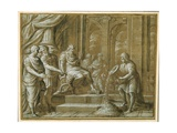 An Elderly King  Enthroned with Attendants in an Architectural Setting  and a Youth Pouring from…