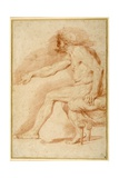 Bearded Nude Seated on a Couch All'Antica