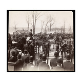 View of the Crowd and Military Men Surrounding a Carriage with President Harrison at Grant's…