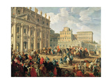 Charles De Bourbon Visiting Pope Benedict Xiv at St Peter's  Rome  1745