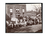 Young Boys with Flags Marching in a Parade at Dobbs Ferry  New York  1898