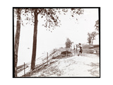 View of a Boy with a Spyglass Looking Toward the Hudson River from Riverside Park  New York