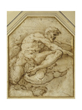 Male Figure  Born Aloft in Clouds by Putti