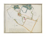 Map from 'Red Books'  for 'Mogenhanger in Bedfordshire  a Seat of Godfrey Thornton Esq'  1792