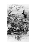Hunting the Wild Boar  from 'The Gentleman's Recreation' Published by Richard Blome  1686