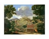 Landscape with Classical Ruins and Etruscan Sarcophagus  C1634