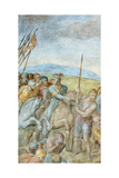 Group of Roman Soldiers with their Leader Pointing Towards to Saint Peter on the Cross  Detail of…