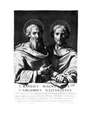 Saint Basil the Great and Saint Gregory of Nazianzus  Print Made by Gerard Edelinck