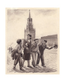 Chinese Students on the Red Square  1950s