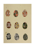 Coloured Eggs with Ethnic Russian Patterns  1950s