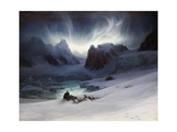 Magdalena Bay  View from Peninsula in Northern Spitsbergen with Aurora Borealis  1841