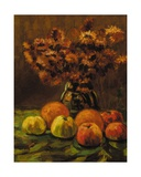 Apples  Oranges and a Vase of Flowers on a Table