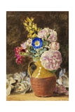 Mixed Flowers in a Brown and Fawn Jug  C1860
