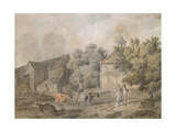 A Farmyard with Figures and Cattle  1793