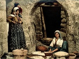 Lebanese Women Making Bread in Front of their House  C1880-1900