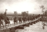 Londoner's Bridge across the The Jordan River with Mounted Anzac Troops Crossing  C1917-18