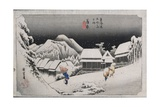 Night Snow  Kambara  Illustration from the Series 'Fifty-Three Stations on the Tokaido'  C1834-35