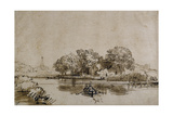 A Man Sculling a Boat on the Bullewijk  with a View Toward Ouderkerk  C1650