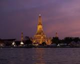 Temple of the Dawn and Chao Phraya River at Sunset  Wat Arun  Bangkok  Thailand