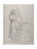 A Peasant Girl Churning Butter