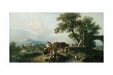 A Pastoral Scene with Cowherds  C1750