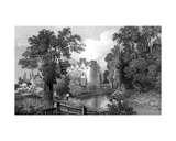 The Moat of Ongar Castle and Castle House  Essex  Engraved by Henry Wallis  1832