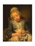 Young Knitter Asleep  C1759