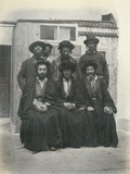 Group of 7 Polish Jews in the Courtyard of the Mediterranean Hotel  Jerusalem  1867