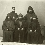 Group of 5 Armenian Priests in the Courtyard of the Mediterranean Hotel  Jerusalem  1867
