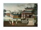 Figures Approaching a Riverside Mansion  C1800