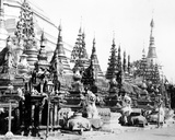 Base of the Shwedagon Pagoda at Rangoon  Burma  C1886